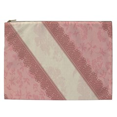 Background Pink Great Floral Design Cosmetic Bag (XXL)
