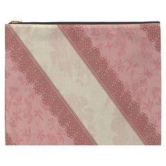 Background Pink Great Floral Design Cosmetic Bag (XXXL)