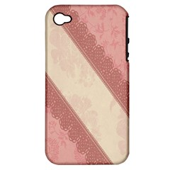 Background Pink Great Floral Design Apple iPhone 4/4S Hardshell Case (PC+Silicone)