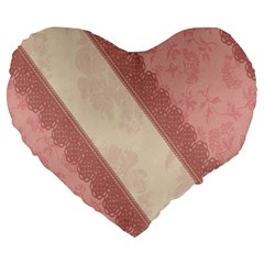 Background Pink Great Floral Design Large 19  Premium Heart Shape Cushions