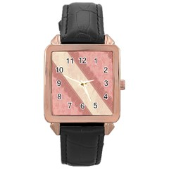 Background Pink Great Floral Design Rose Gold Leather Watch