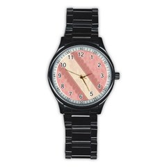 Background Pink Great Floral Design Stainless Steel Round Watch