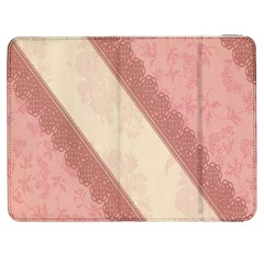 Background Pink Great Floral Design Samsung Galaxy Tab 7  P1000 Flip Case
