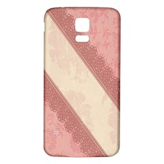 Background Pink Great Floral Design Samsung Galaxy S5 Back Case (White)