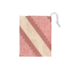 Background Pink Great Floral Design Drawstring Pouches (Small)