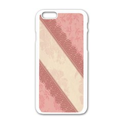 Background Pink Great Floral Design Apple iPhone 6/6S White Enamel Case