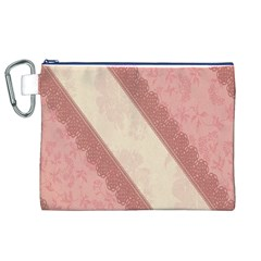 Background Pink Great Floral Design Canvas Cosmetic Bag (XL)