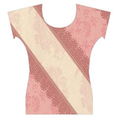Background Pink Great Floral Design Women s Cap Sleeve Top