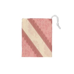 Background Pink Great Floral Design Drawstring Pouches (XS)