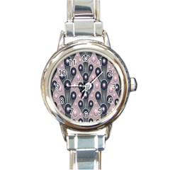 Background Abstract Pattern Grey Round Italian Charm Watch