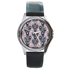 Background Abstract Pattern Grey Round Metal Watch