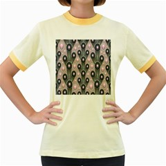 Background Abstract Pattern Grey Women s Fitted Ringer T-Shirts
