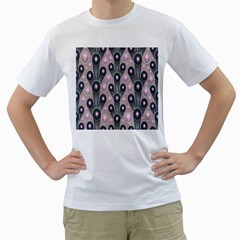 Background Abstract Pattern Grey Men s T-Shirt (White) (Two Sided)