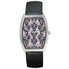 Background Abstract Pattern Grey Barrel Style Metal Watch