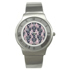 Background Abstract Pattern Grey Stainless Steel Watch