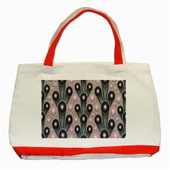Background Abstract Pattern Grey Classic Tote Bag (Red)