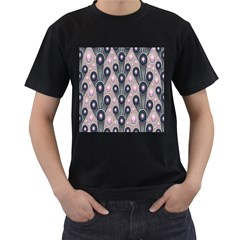 Background Abstract Pattern Grey Men s T-Shirt (Black)