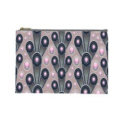 Background Abstract Pattern Grey Cosmetic Bag (Large)