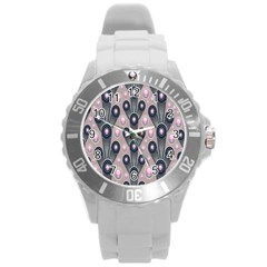 Background Abstract Pattern Grey Round Plastic Sport Watch (L)