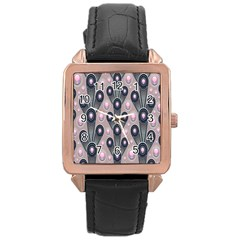 Background Abstract Pattern Grey Rose Gold Leather Watch