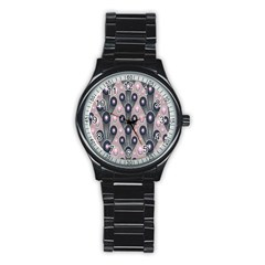 Background Abstract Pattern Grey Stainless Steel Round Watch