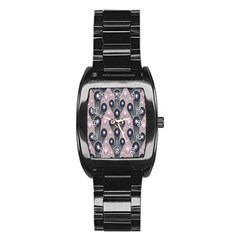 Background Abstract Pattern Grey Stainless Steel Barrel Watch