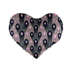 Background Abstract Pattern Grey Standard 16  Premium Flano Heart Shape Cushions