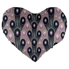 Background Abstract Pattern Grey Large 19  Premium Flano Heart Shape Cushions