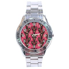 Background Abstract Pattern Stainless Steel Analogue Watch