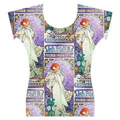 Alfons Mucha 1896 La Dame Aux Cam¨|lias Women s Cap Sleeve Top