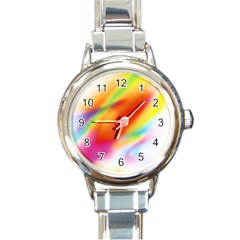 Blur Color Colorful Background Round Italian Charm Watch