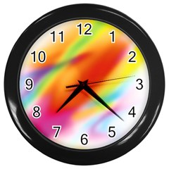 Blur Color Colorful Background Wall Clocks (Black)