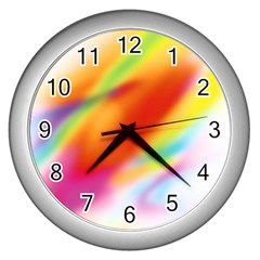 Blur Color Colorful Background Wall Clocks (Silver)