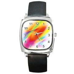 Blur Color Colorful Background Square Metal Watch