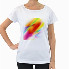 Blur Color Colorful Background Women s Loose-Fit T-Shirt (White)