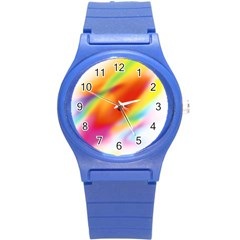 Blur Color Colorful Background Round Plastic Sport Watch (S)