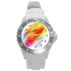 Blur Color Colorful Background Round Plastic Sport Watch (L)