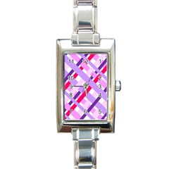 Diagonal Gingham Geometric Rectangle Italian Charm Watch