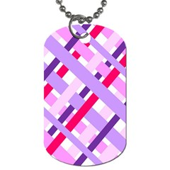 Diagonal Gingham Geometric Dog Tag (One Side)