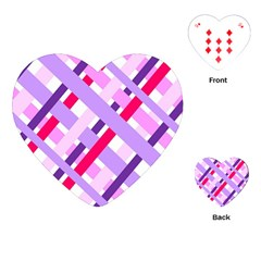 Diagonal Gingham Geometric Playing Cards (Heart)