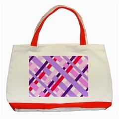 Diagonal Gingham Geometric Classic Tote Bag (Red)