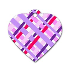 Diagonal Gingham Geometric Dog Tag Heart (Two Sides)