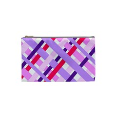 Diagonal Gingham Geometric Cosmetic Bag (Small)