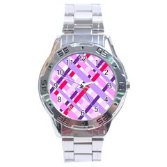 Diagonal Gingham Geometric Stainless Steel Analogue Watch