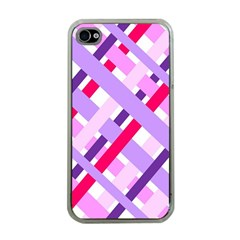 Diagonal Gingham Geometric Apple iPhone 4 Case (Clear)