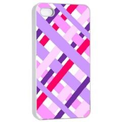 Diagonal Gingham Geometric Apple iPhone 4/4s Seamless Case (White)