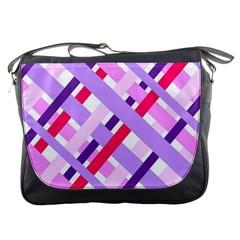 Diagonal Gingham Geometric Messenger Bags