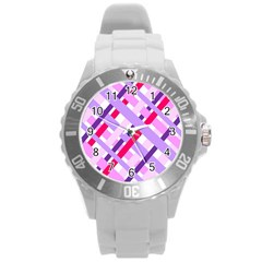 Diagonal Gingham Geometric Round Plastic Sport Watch (L)