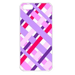 Diagonal Gingham Geometric Apple iPhone 5 Seamless Case (White)