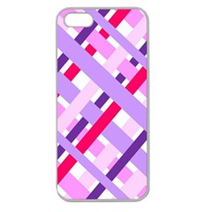 Diagonal Gingham Geometric Apple Seamless iPhone 5 Case (Clear)